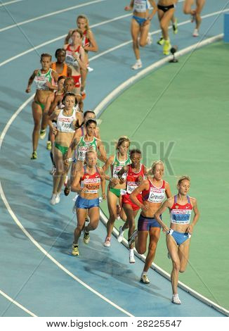 BARCELONA, SPAIN - JULY 28: Competitors of 10000m Women Final of the 20th European Athletics Championships at the Olympic Stadium on July 28, 2010 in Barcelona, Spain