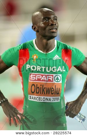 BARCELONA, SPAIN - JULY 29: Francis Obikwelu of Portugal after competes on the 100m event during the 20th European Athletics Championships at the Olympic Stadium on July 29, 2010 in Barcelona, Spain