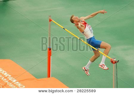 BARCELONA, SPAIN - JULY 29: Aleksander Shustov of Russia competes on the Men High Jump during the 20th European Athletics Championships at the Olympic Stadium on July 29, 2010 in Barcelona, Spain
