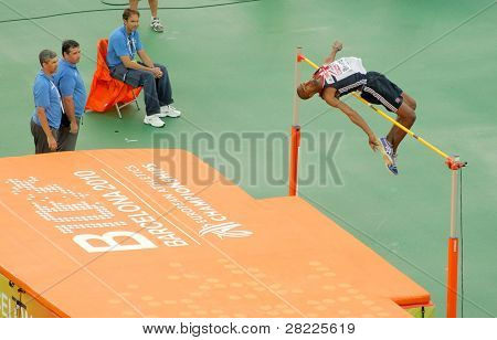 BARCELONA, SPAIN - JULY 29: Martyn Bernard of Great Britain competes on the Men High Jump during the 20th European Athletics Championships at the Olympic Stadium on July 29, 2010 in Barcelona, Spain