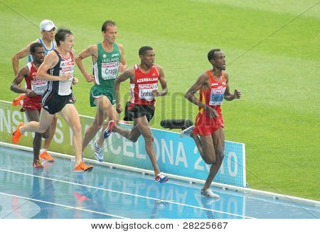 BARCELONA, SPAIN - JULY 29: Competitors of 5000m Men during the 20th European Athletics Championships at the Olympic Stadium on July 29, 2010 in Barcelona, Spain
