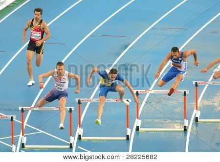 BARCELONA, SPAIN - JULY 29: Competitors of 400m Hurdles Men during the 20th European Athletics Championships at the Olympic Stadium on July 29, 2010 in Barcelona, Spain
