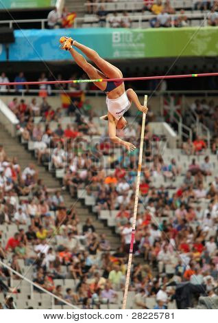 BARCELONA, SPAIN - JULY 30: Jirina Ptacnikova of Czech Republic competes on Women Pole Vault during the 20th European Athletics Championships at the Olympic Stad. on July 30, 2010 in Barcelona, Spain