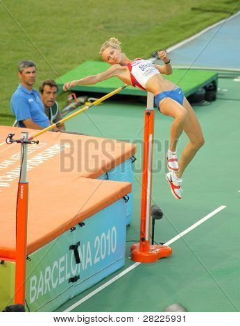 BARCELONA, SPAIN - AUGUST 01: Svetlana Shkolina of Russia competes on High Jump Final of the 20th European Athletics Championships at the Olympic Stadium on August 1, 2010 in Barcelona, Spain