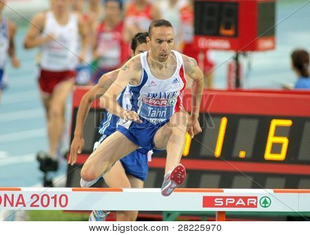 BARCELONA, SPAIN - AUGUST 01: Bouabdellah Tahri of France competes on 3000m steeplechase Final of the 20th European Athletics Championships at the Olympic Stadium on August 1, 2010 in Barcelona, Spain
