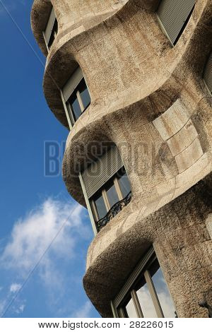 BARCELONA - OCT 14: Detail of Pedrera/Casa Mila, a famous building in Barcelona, Spain, designed by Antonio Gaudi referred to as Modernisme architecture on October 14, 2010 in Barcelona, Spain