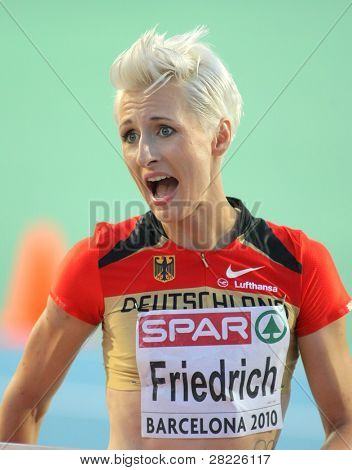 BARCELONA - AUG 1: Ariane Friedrich of Germany during High Jump Final of the 20th European Athletics Championships at the Olympic Stadium on August 1, 2010 in Barcelona, Spain