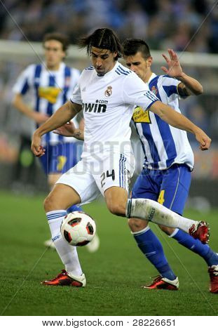 BARCELONA - FEB 13: Sami Khedira of Real Madrid during a spanish league match between Espanyol and Real Madrid at the Estadi Cornella on February 13, 2011 in Barcelona, Spain