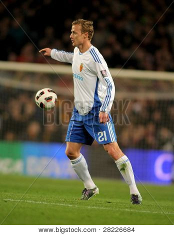 BARCELONA - MARCH 5: Jiri Jarosik of Zaragoza during the match between FC Barcelona and Real Zaragoza at the Nou Camp Stadium on March 5, 2011 in Barcelona, Spain