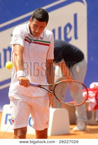 21. April Barcelona: rumänische Tennis Spieler Victor Clement in Aktion während sein Spiel gegen David