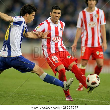 BARCELONA - APRIL 17: Jose Antonio Reyes of Atletico Madrid during  the match between Espanyol and Atletico Madrid at the Estadi Cornella on April 17, 2011 in Barcelona, Spain