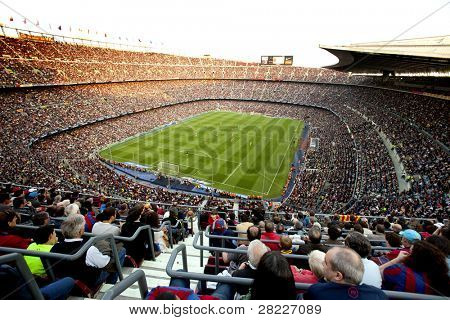 BARCELONA - MAY 8: FC Barcelona stadium, Camp Nou, during the match between FC Barcelona and RCD Espanyol at the Nou Camp Stadium on May 8, 2011 in Barcelona, Spain