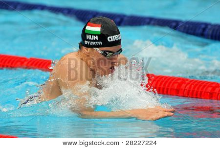 BARCELONA - JUNE 5: Hungarian World champion Daniel Gyurta swims breaststroke during the Mare Nostrum meeting in Barcelona's Sant Andreu club, June 5, 2011 in Barcelona, Spain