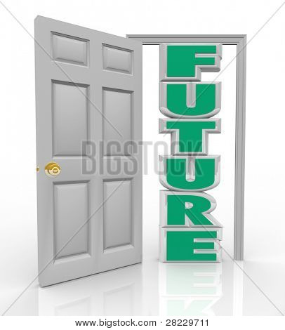 A white door opens to reveal the word Future to represent the new opportunity, hope and good things in store for you lying right in front of your path