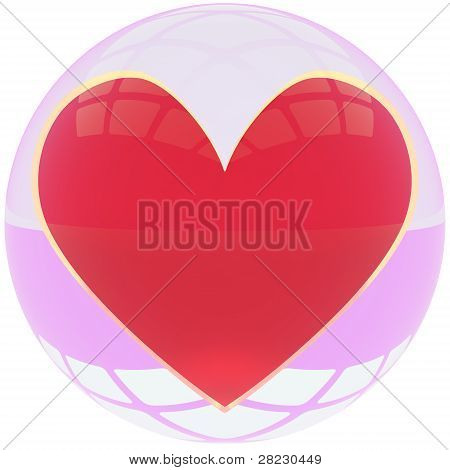 Heart in crystal ball