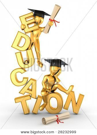 Man with diploma on text education. 3d