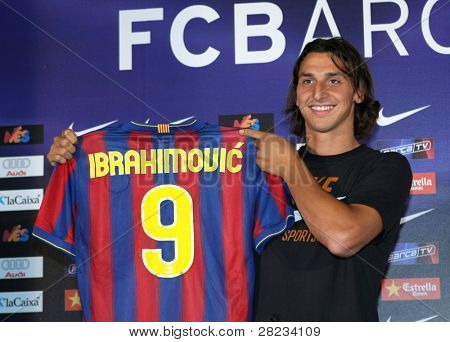 BARCELONA JULY 27: Barcelona's new signing Swedish forward Zlatan Ibrahimovic during his official presentation with the Futbol Club Barcelona on July 27, 2009 in Barcelona, Spain.