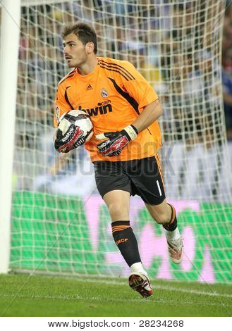BARCELONA - SEPT. 12: Iker Casillas of Real Madrid in action during a Spanish League match against RCD Espanyol at the Estadi Cornella-El Prat on September 12, 2009 in Barcelona, Spain