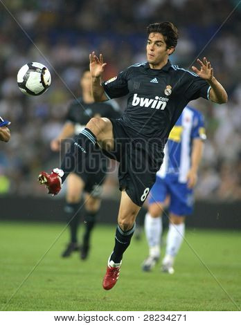 BARCELONA - SEPT. 12: Brazilian player Kaka  of Real Madrid in action during a Spanish League match against RCD Espanyol at the Estadi Cornella-El Prat on September 12, 2009 in Barcelona, Spain