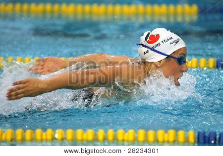 BARCELONA, SPAIN - JUNE. 10: Australian Olympic champion Felicity Galvez swims Butterfly during the Mare Nostrum meeting in Barcelona's Sant Andreu club, June 10, 2008 in Barcelona, Spain.