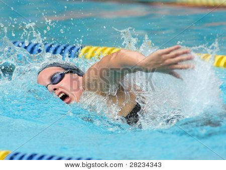 BARCELONA, SPAIN - JUNE 6: British Olympic  medalist swimmer Joanne Jackson swims crawl style during the Mare Nostrum meeting in Barcelona's Sant Andreu club, June 6, 2009 in Barcelona, Spain.