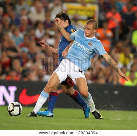 BARCELONA, SPAIN - AUG. 19: Manchester City's Slovak Vladimir Weiss during the match Trophy Joan Gamper between Barcelona and Manchester City at Nou Camp Stadium in Barcelona, Spain. August 19, 2009.