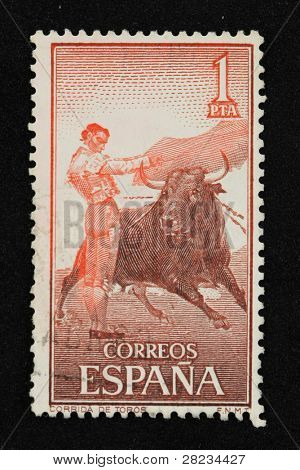 BARCELONA - SEPTEMBER 30: Vintage Spanish stamp printed in 1960 with bullfight illustration on September 30, 2009 in Barcelona, Spain.