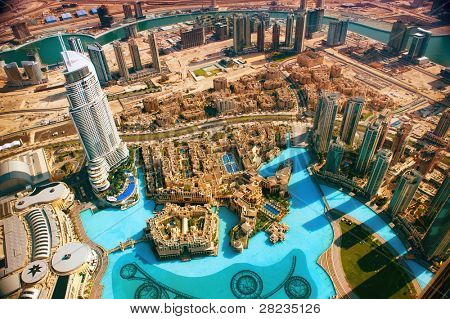 DUBAI, UAE. - NOVEMBER 29 : Dubai, the top view on Dubai downtown from the tallest building in the world, Burj Khalifa, at 828m. on November 29, 2011 in Dubai, UAE. Day View