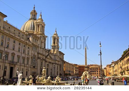 ROME - JULY 8: Tourists visit Piazza Navona on July 8, 2011 in Rome, Italy. Piazza Navona  is one of the most famous squares of Rome