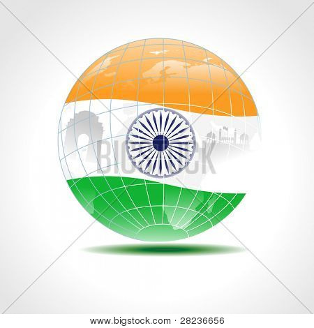 eine Vektor-Illustration einer Indien Karte abgedeckt mit indischen Flagge mit textfreiraum für Republik und ind
