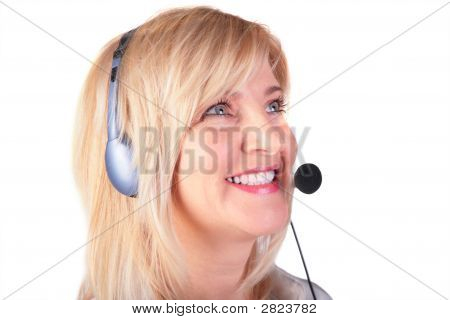 Middleaged Woman With Headset