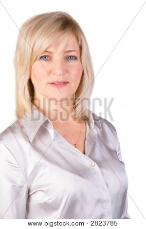 Middleaged Woman In Light Blouse