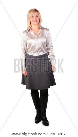 Middleaged Woman Stands On White