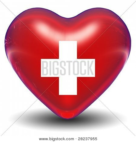 High resolution 3D heart with a cross sign or symbol isolated on white background, ideal for medical, sanitary or medicine designs. It is a concept or conceptual image made for health or cardiology.