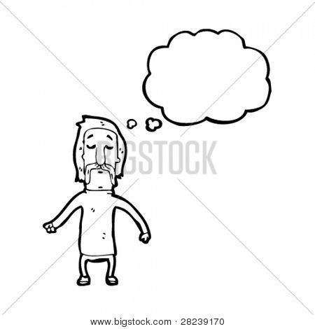 mustache man with thought bubble