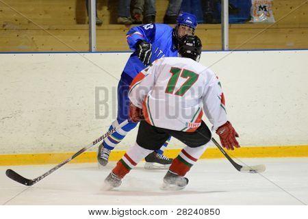 KAPOSVAR, Hungría - 17 de diciembre: Los jugadores no identificados en acción en un partido amistoso de hockey sobre hielo con