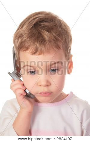 Child Talks On Cell Phone