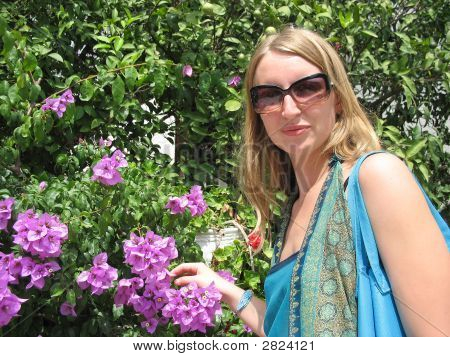 Woman With Bougainvillea