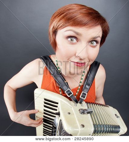 Woman Playing The Accoridan