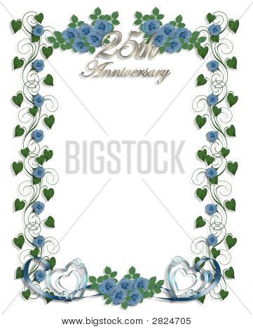 25Th Wedding Anniversary Invitation Blue Roses Stock photo