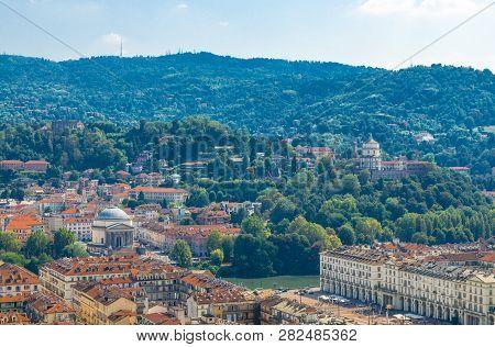 Aerial Top Panoramic View Of