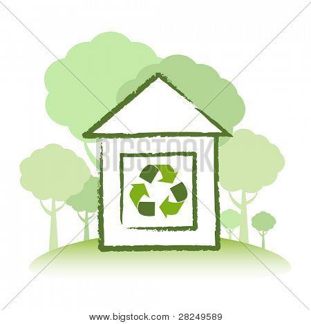 Concepto verde Eco casa construido de madera sostenible de los recursos.