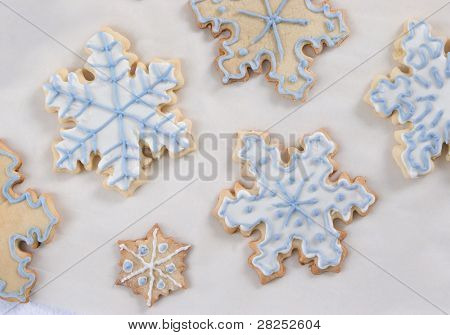 snowflake cookies - blue and white