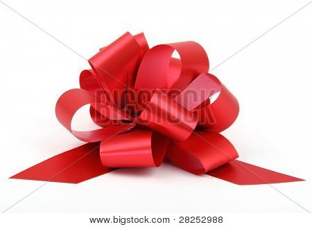 Single red ribbon plastic gift bow isolated on white background.