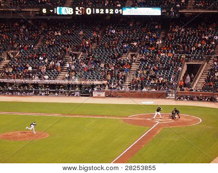 Giants Batter Waits On Incoming Pitch From A's Pitcher