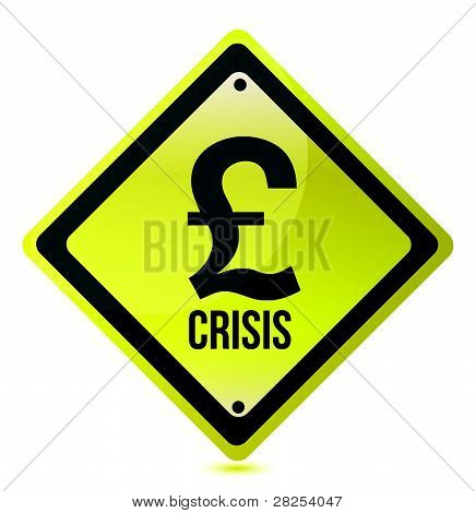 yellow pound crisis sign illustration design on white