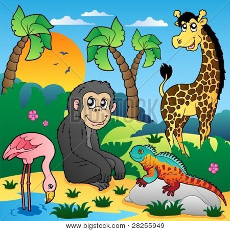 African scenery with animals 5 - vector illustration.
