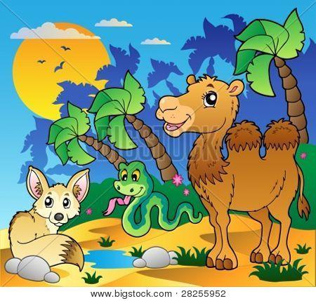 Cena com vários animais 1 - ilustração do vetor do deserto.
