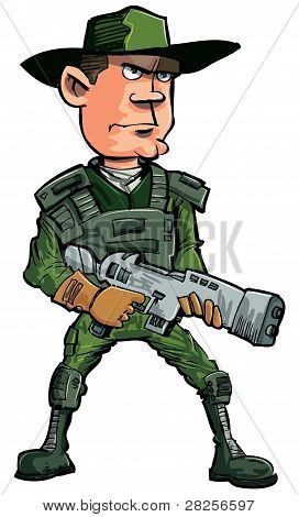Cartoon soldier with a automatic rifle.