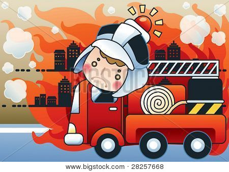 Fire Truck and Cute Firefighter - Advertisement for fire prevention with burning buildings and brave fireman